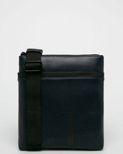 Кожаная сумка через плечо - синяя Calvin Klein