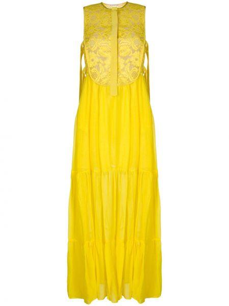 Шелковое платье макси - желтое Miahatami