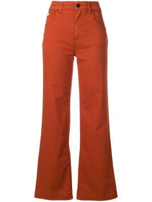 Оранжевые расклешенные хлопковые брюки Alexa Chung