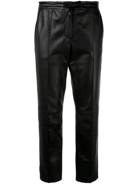 Кожаные черные укороченные брюки со складками Yves Salomon