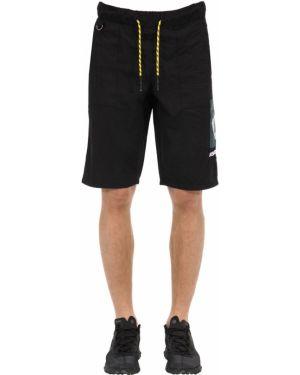 Czarne krótkie szorty z haftem z nylonu Renowned La