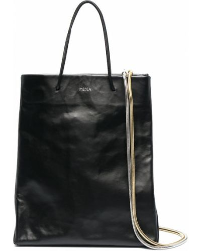 Czarna torba na ramię skórzana z printem Medea