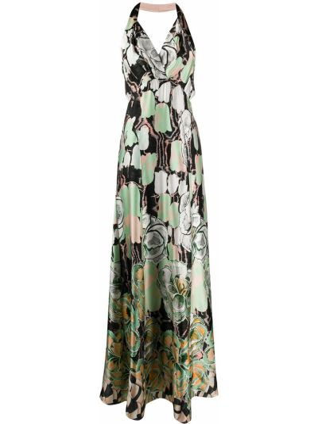 Зеленое шелковое платье с открытой спиной с запахом Temperley London