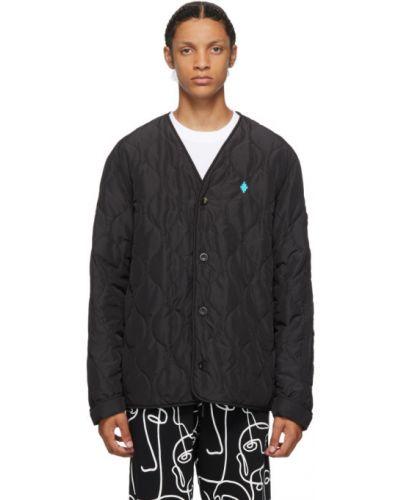 Czarny pikowana kurtka z kieszeniami z mankietami z haftem Marcelo Burlon County Of Milan