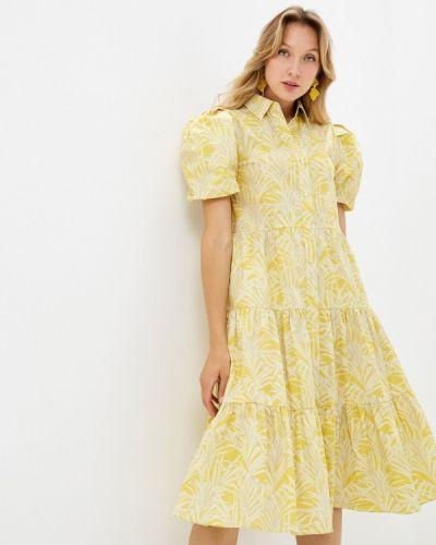 Желтое платье-рубашка Unq