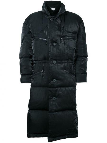 Черное длинное пальто с воротником на молнии с карманами Issey Miyake Pre-owned