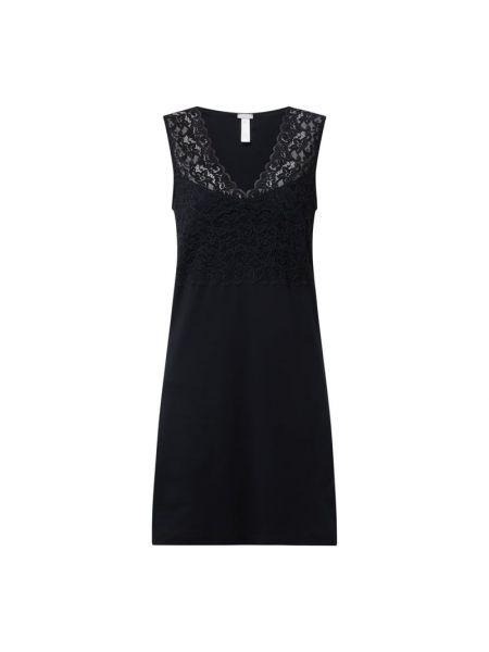 Czarna koszula nocna bawełniana z dekoltem w serek Hanro
