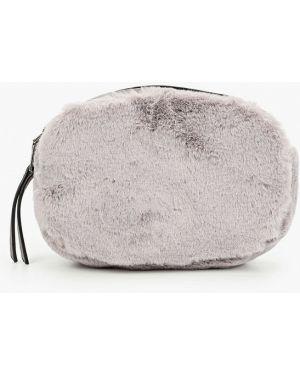 Кожаная поясная сумка - серая Keddo