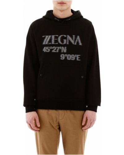 Bluza z kapturem bawełniana z raglanowymi rękawami Z Zegna