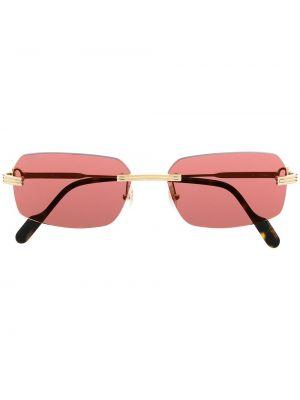 Розовые солнцезащитные очки квадратные металлические Cartier Eyewear