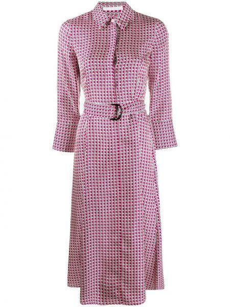 Розовое шелковое платье миди с воротником Boss Hugo Boss