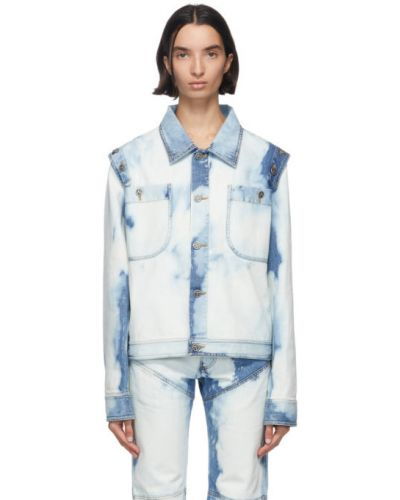 Серебряная джинсовая куртка с манжетами стрейч с воротником Telfar