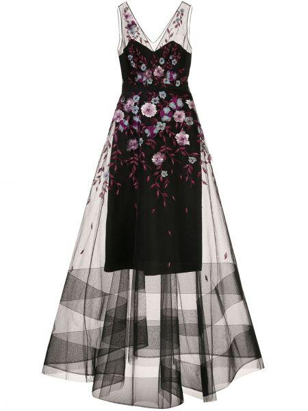 Вечернее платье с цветочным принтом с V-образным вырезом Marchesa Notte