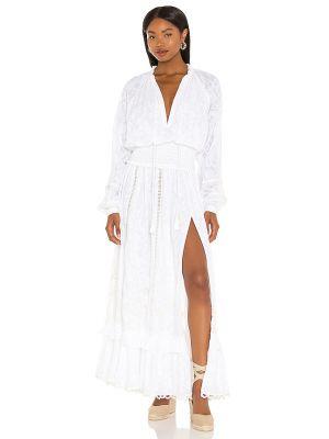 Повседневное белое платье макси с декольте Hemant And Nandita