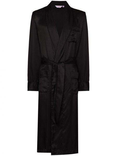 Czarny szlafrok z jedwabiu z długimi rękawami Derek Rose