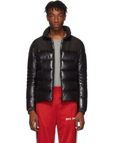 Puchaty czarny długa kurtka z mankietami z kieszeniami Moncler