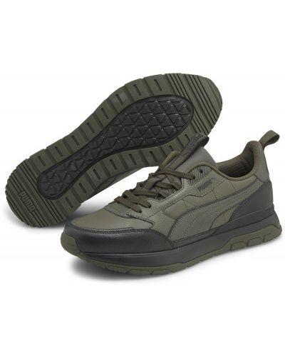 Зеленые кожаные кроссовки Puma