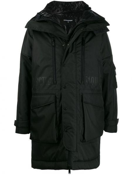 Czarny płaszcz bawełniany z długimi rękawami Dsquared2