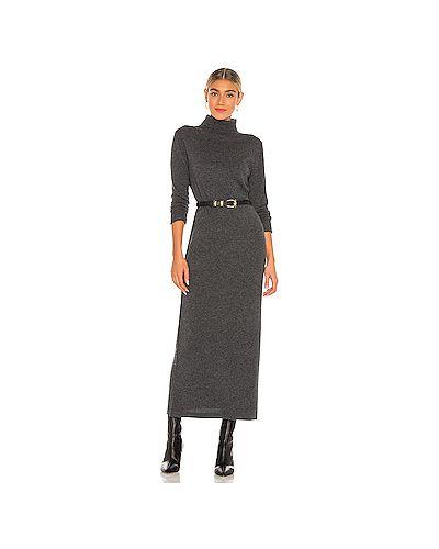 Кашемировое серое платье макси с поясом Nili Lotan