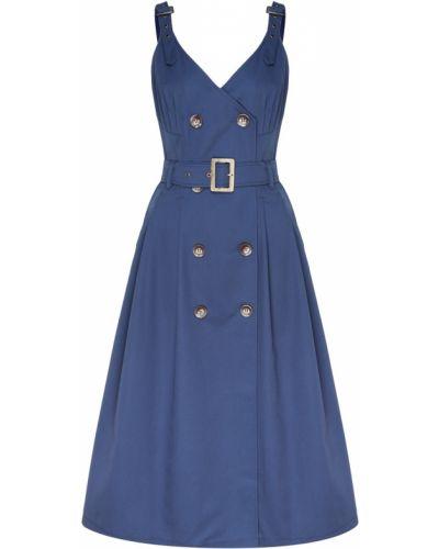 Приталенное синее платье с поясом Laroom