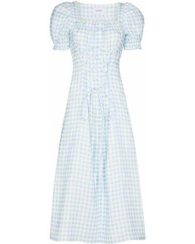 Niebieska sukienka mini rozkloszowana koronkowa Sleeper