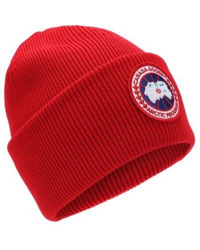 Вязаная шапка шерстяная с логотипом Canada Goose