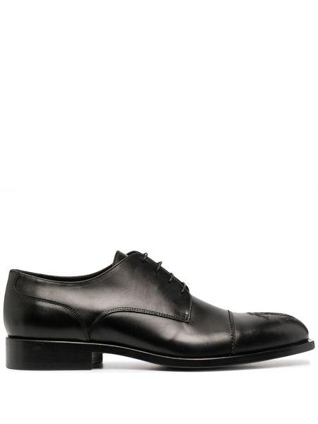 Черные кожаные дерби с перфорацией Roberto Cavalli