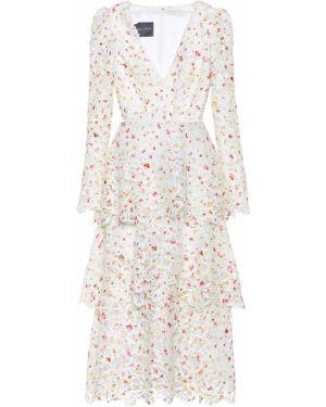 Кружевное платье миди - белое Monique Lhuillier