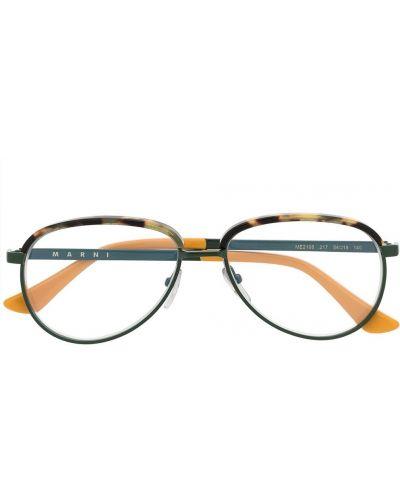 Зеленые очки авиаторы металлические прозрачные Marni Eyewear