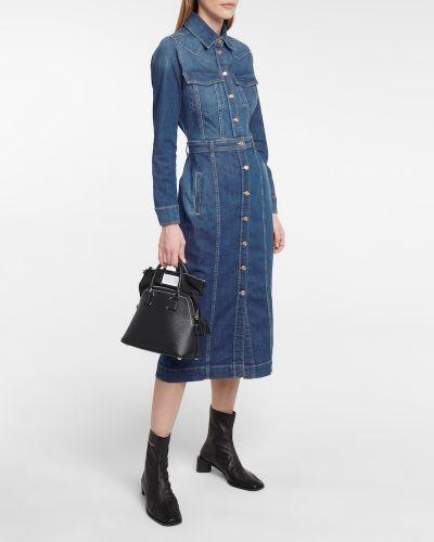 Хлопковое синее джинсовое платье для полных 7 For All Mankind