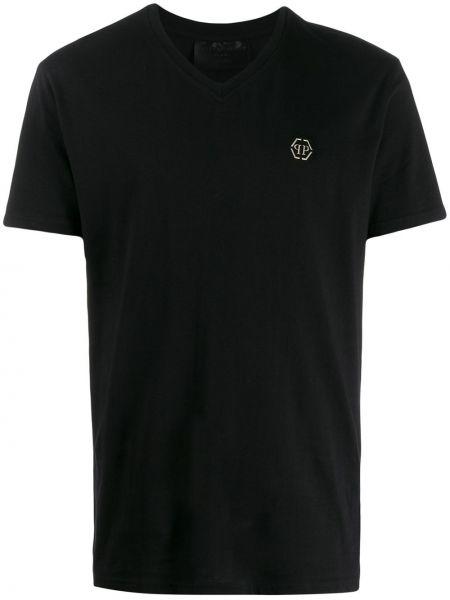 С рукавами черная футболка с черепами Philipp Plein