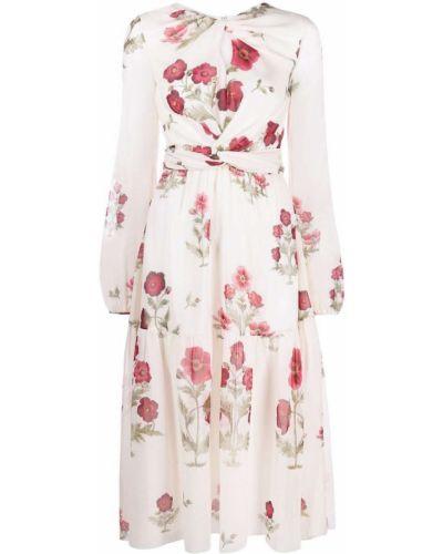 Платье миди с длинными рукавами - белое Giambattista Valli