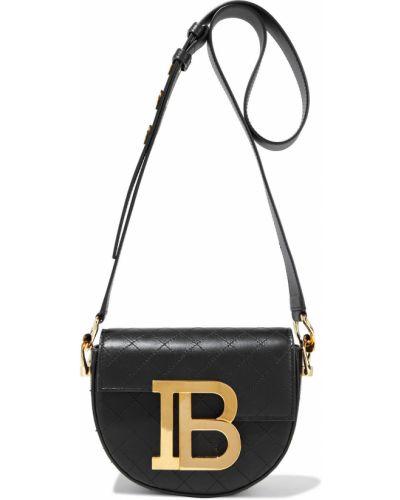 Кожаный черный джемпер со шлицей Balmain