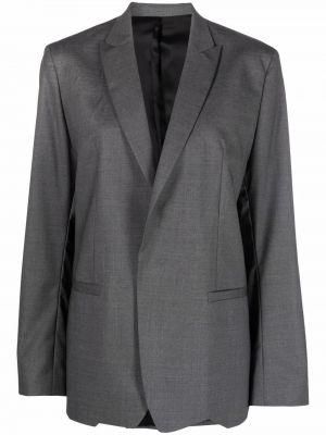 Шерстяной серый удлиненный пиджак с лацканами Toteme