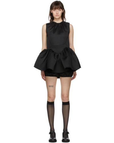 Satynowa czarna sukienka bez rękawów Shushu/tong