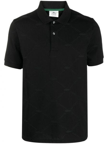 Czarna koszula krótki rękaw bawełniana Lacoste Live