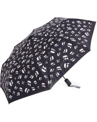 Черный зонт металлический с декоративной отделкой Karl Lagerfeld