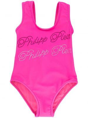 Różowy strój kąpielowy srebrny bez rękawów Philipp Plein