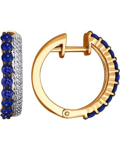 Серьги-кольца с бриллиантом c сапфиром Sokolov