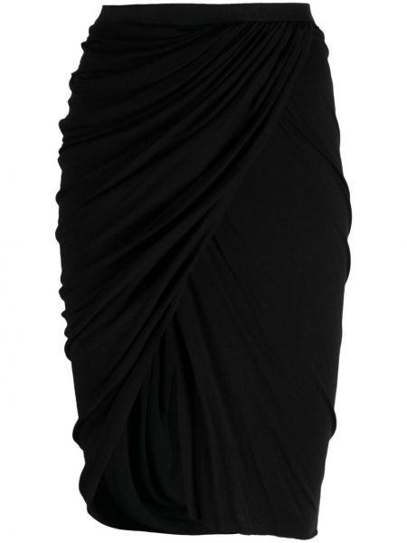 Асимметричная хлопковая черная юбка карандаш Rick Owens Lilies