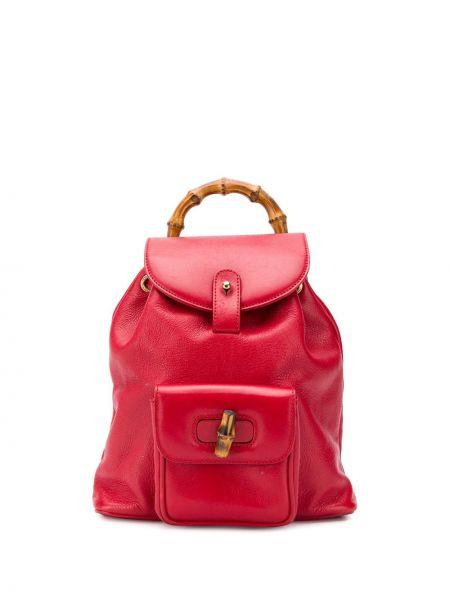 Золотистый красный рюкзак с карманами на молнии Gucci Pre-owned