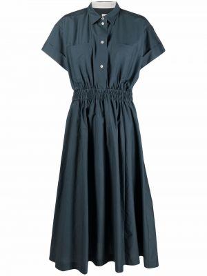 Шелковое синее платье миди с поясом Paul Smith
