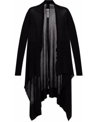 Prążkowany czarny kardigan wełniany Rick Owens