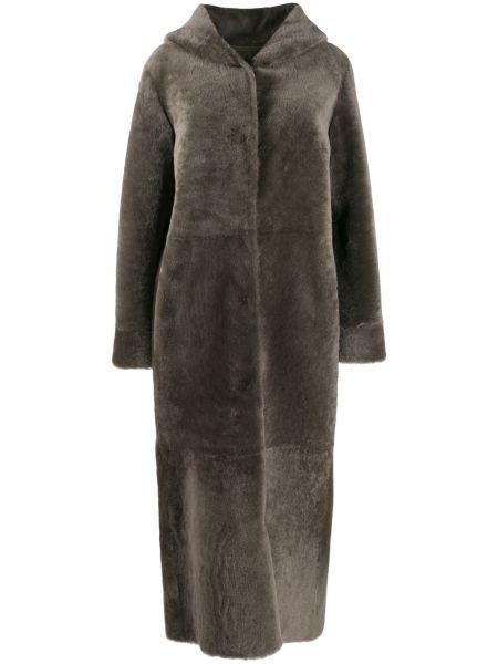 С рукавами пальто с капюшоном айвори из овчины с капюшоном Liska