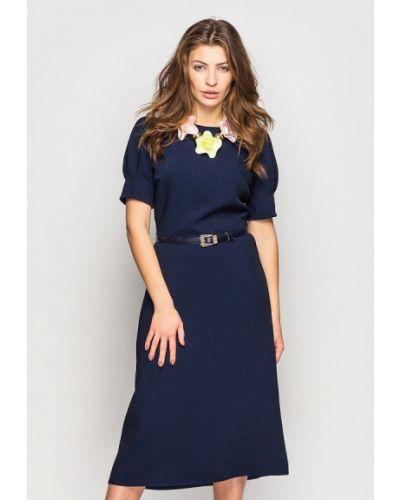 Прямое синее платье А-силуэта Oks By Oksana Demchenko