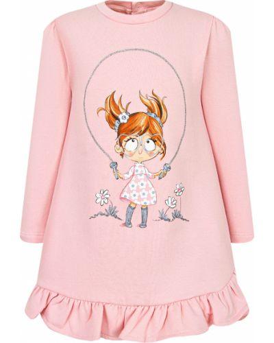 Розовое хлопковое платье Mayoral