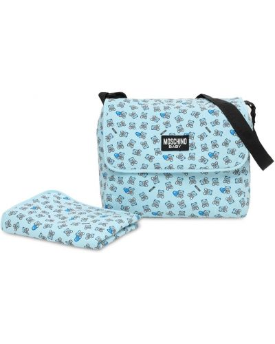 Niebieska torebka z nylonu z printem Moschino