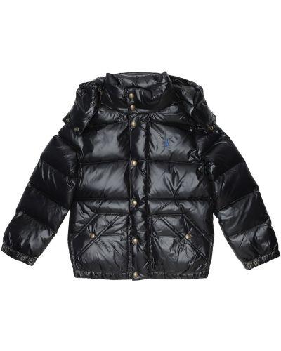 Czarny puchaty pikowana płaszcz Polo Ralph Lauren Kids