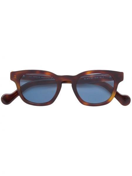 Прямые солнцезащитные очки квадратные металлические хаки Moncler Eyewear