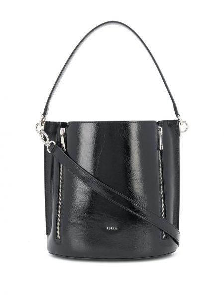 Кожаная сумка сумка-тоут черная Furla